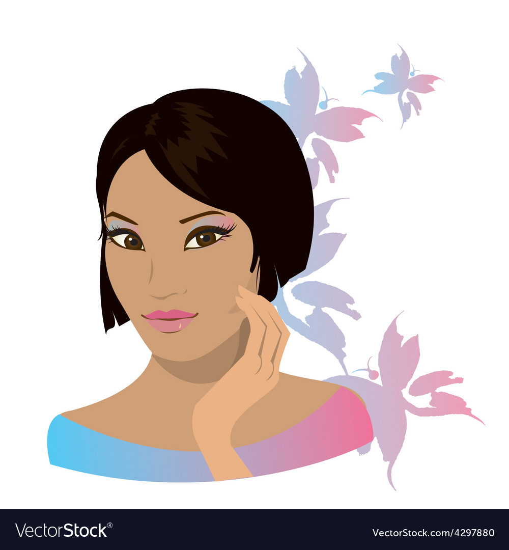 Pretty young asian woman isolated in white vector