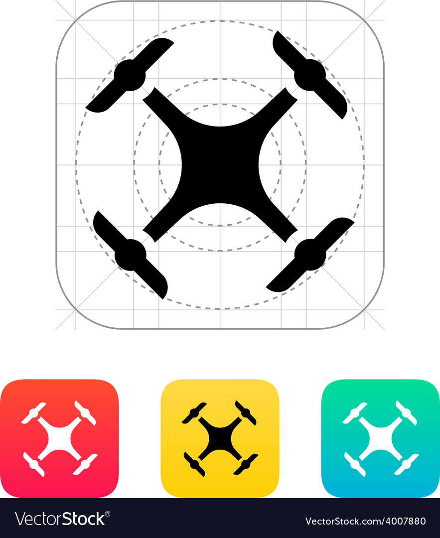 Quadcopter drone icon vector