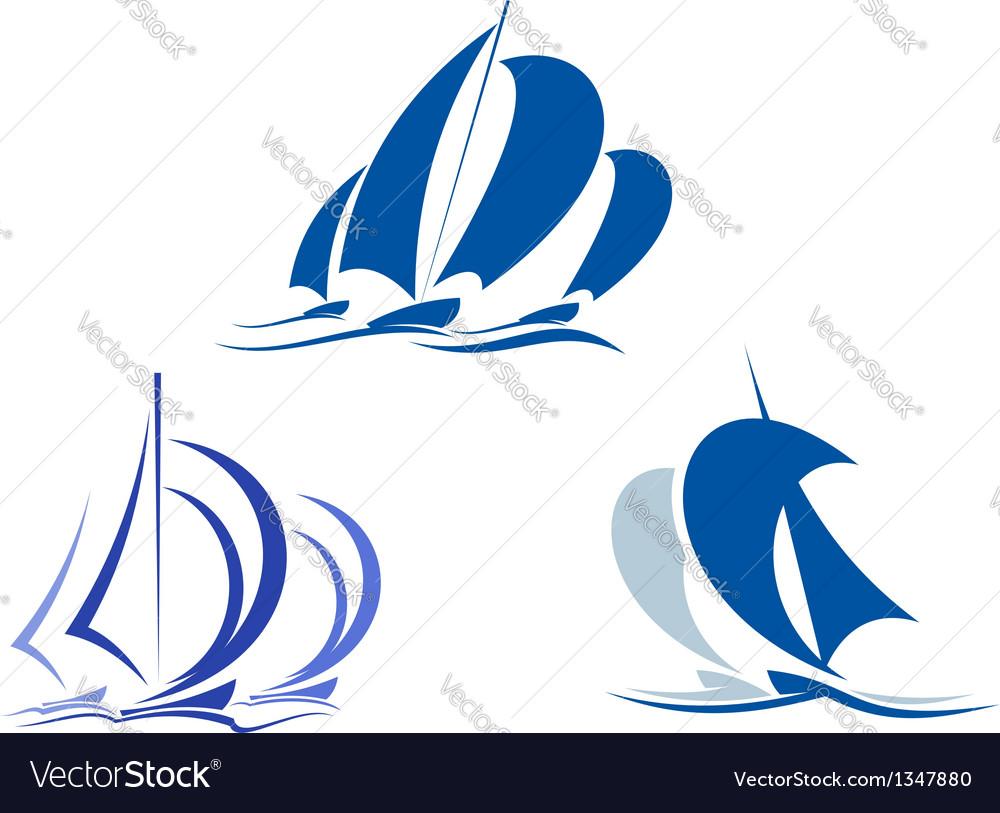Yachts and sailboats vector