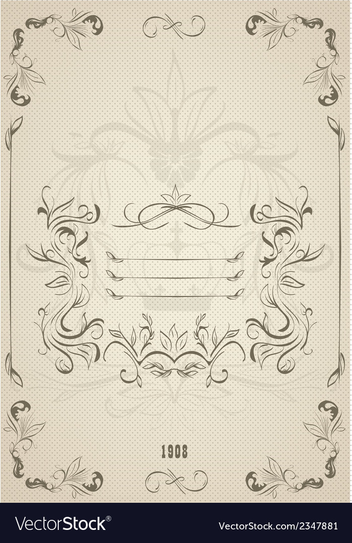 Vintage ornate frame with retro background vector