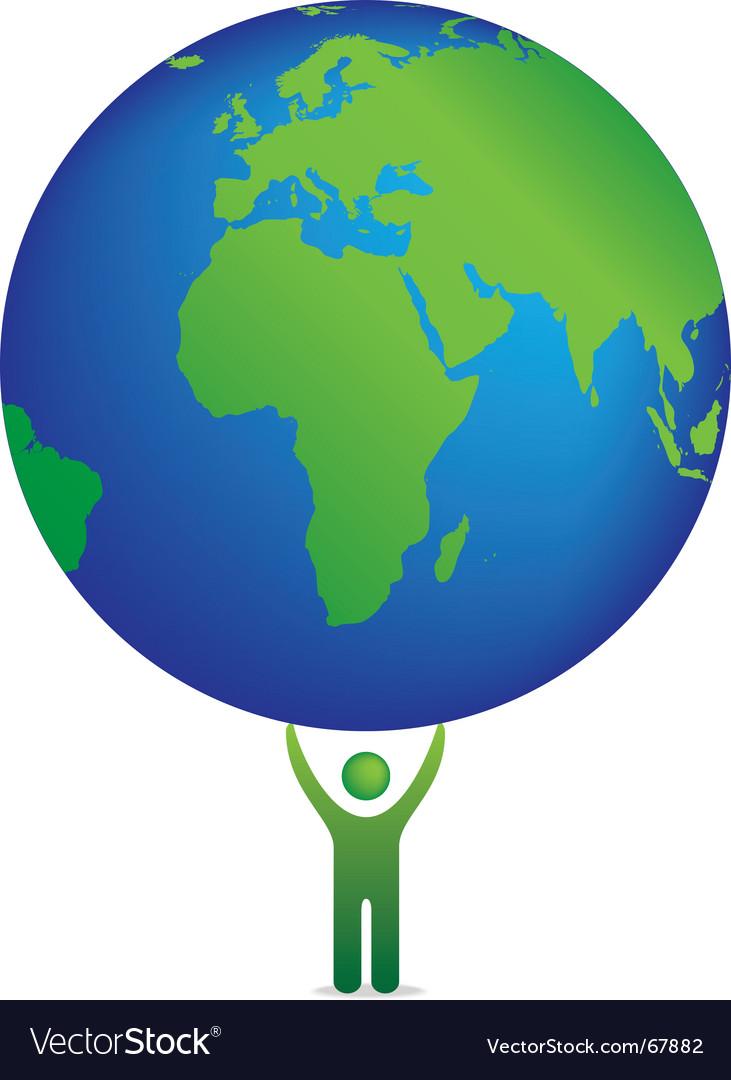 Globe and icon figure vector