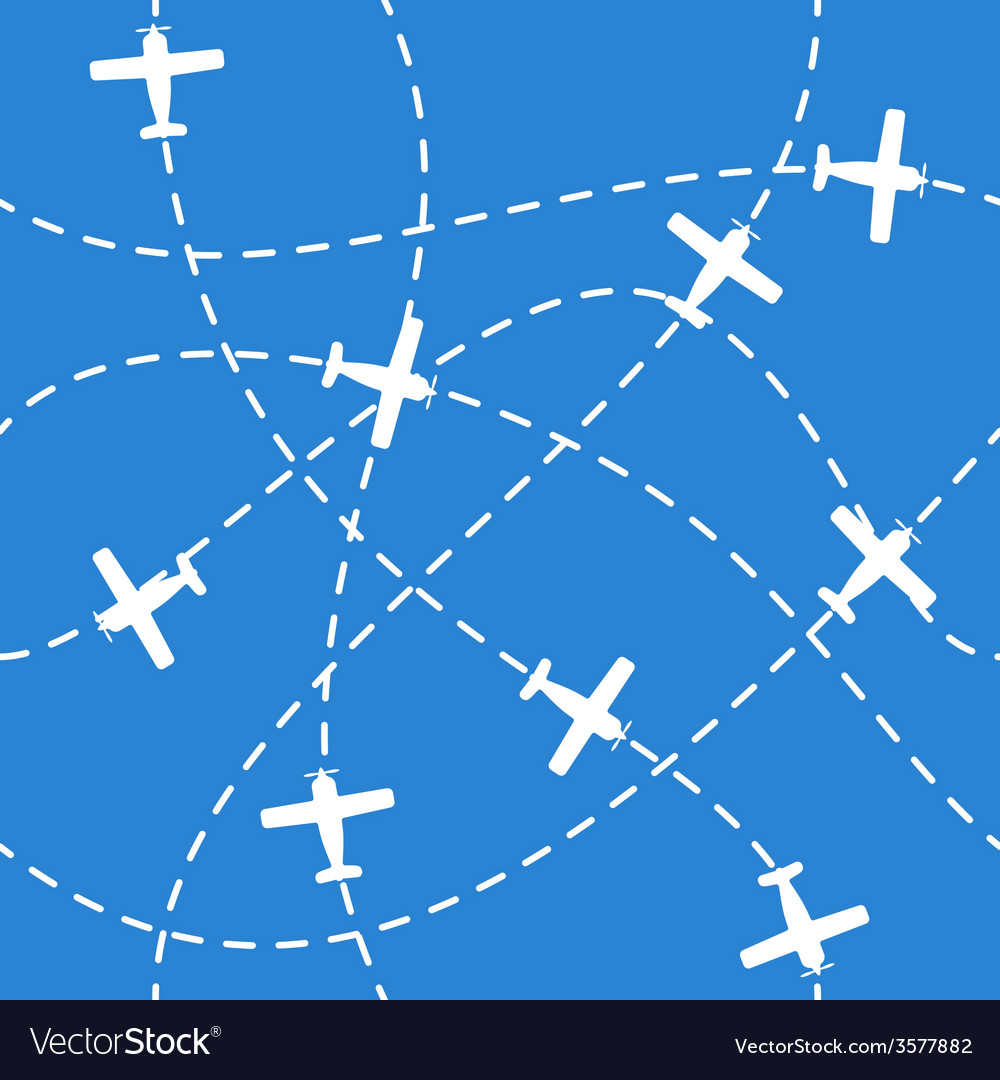Seamless background with airplanes flying on blue vector