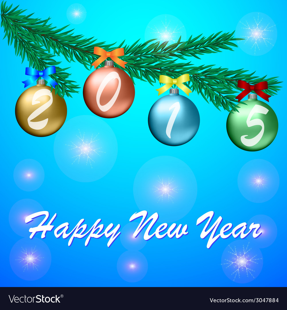 Happy new year 2015 celebration greeting card vector