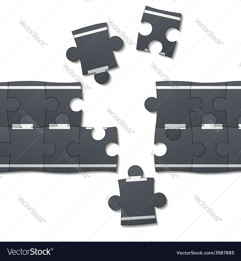 Road consists of pieces of the puzzle vector