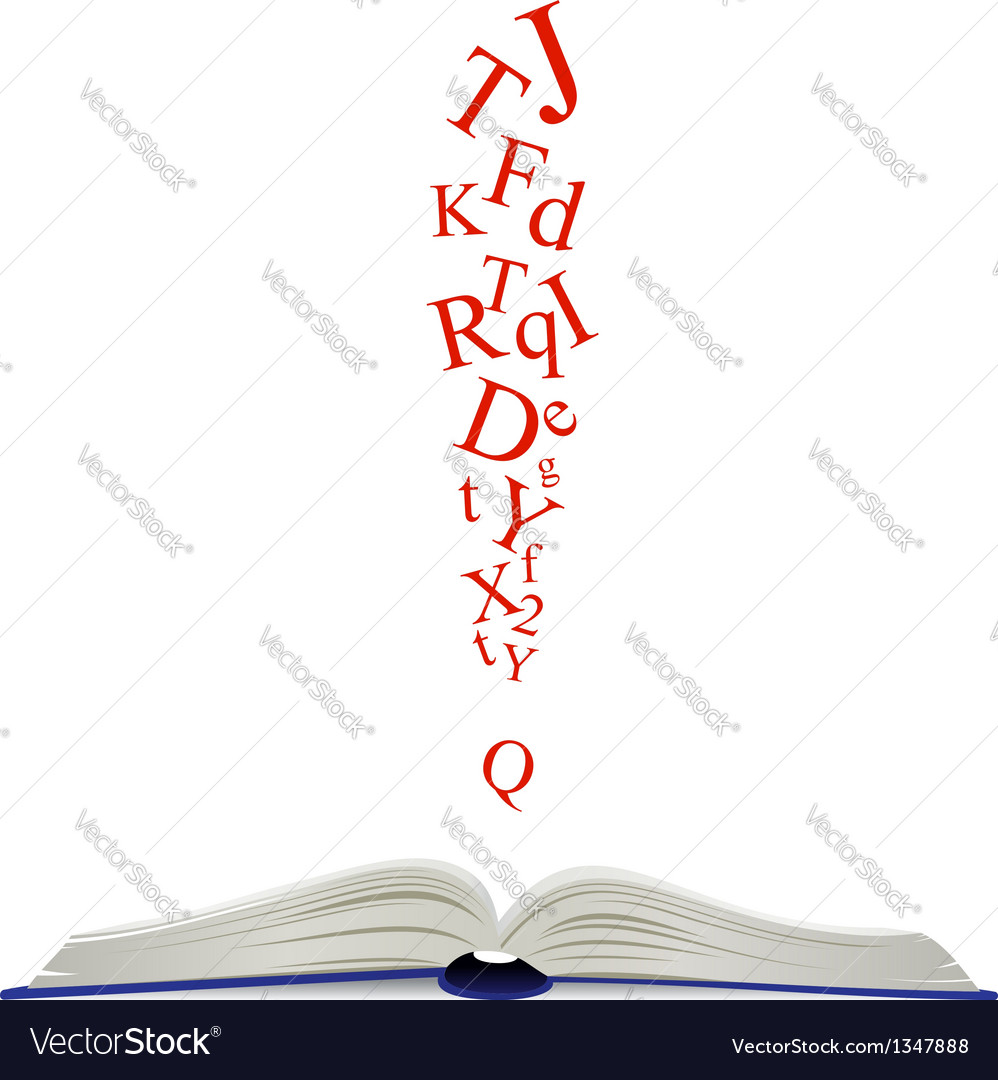 Opened book and attention sign vector