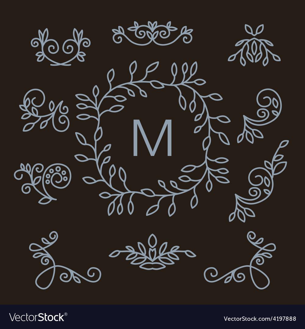 Set of floral line design elements vector