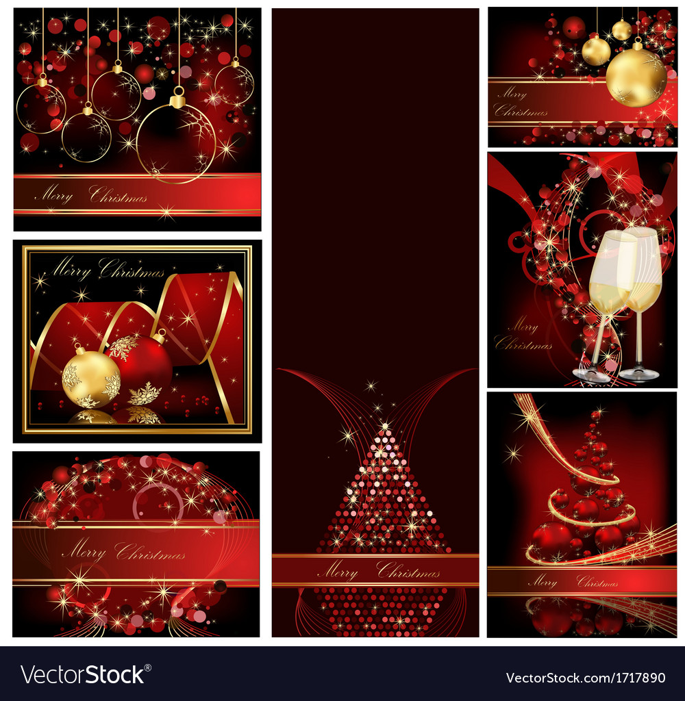 Merry christmas background collections gold and re vector