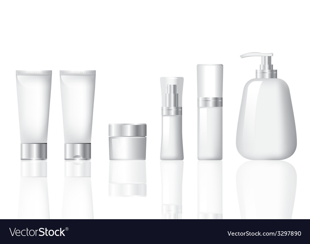 Package cosmetic silver set vector