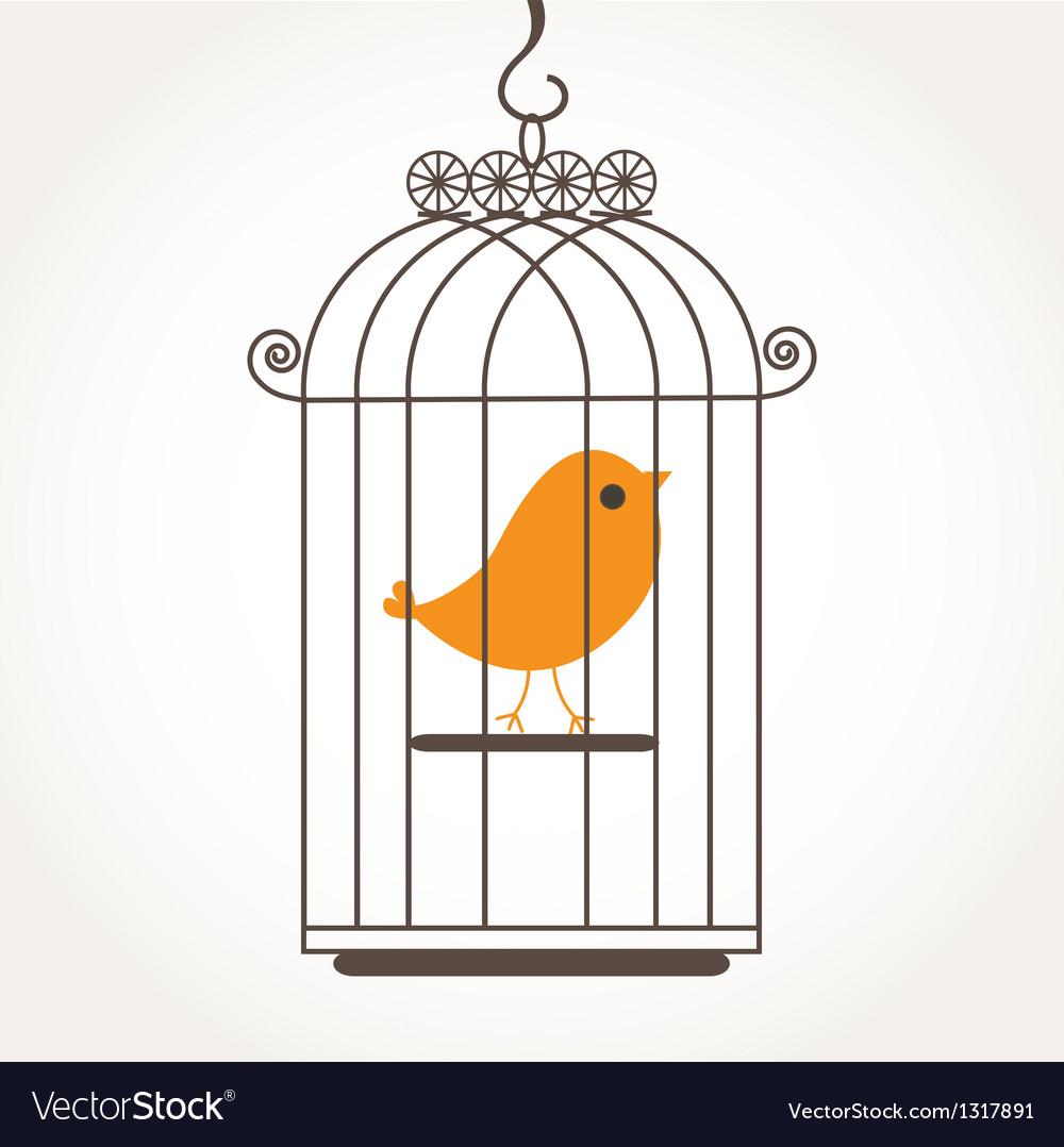Cute bird in birdcage vector