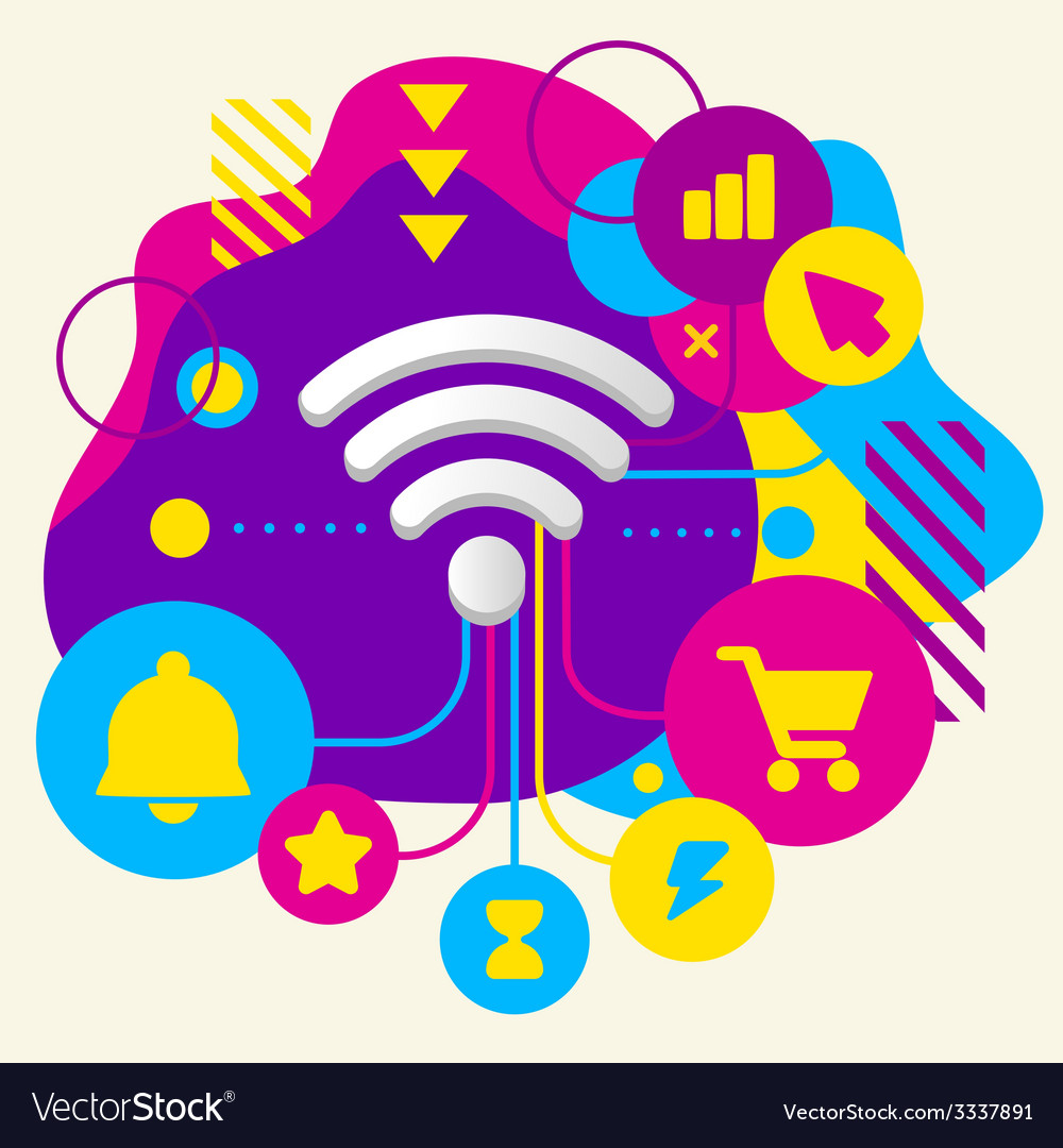 Wi fi on abstract colorful spotted background with vector