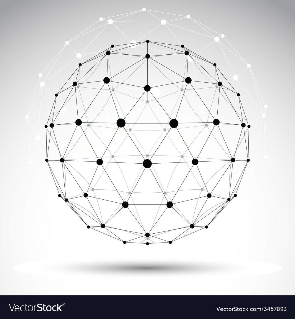 Abstract geometric 3d wireframe object cle vector