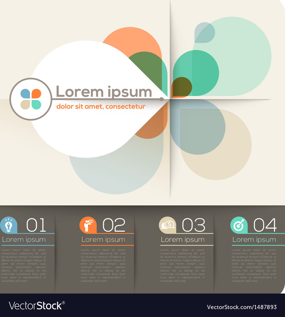 Four petal shape abstract design layout vector