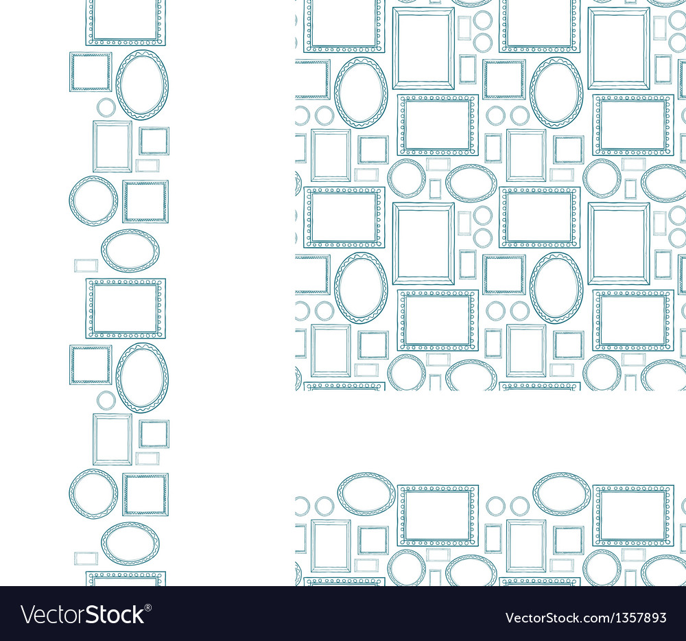 Set of blank picture frames seamless pattern and vector
