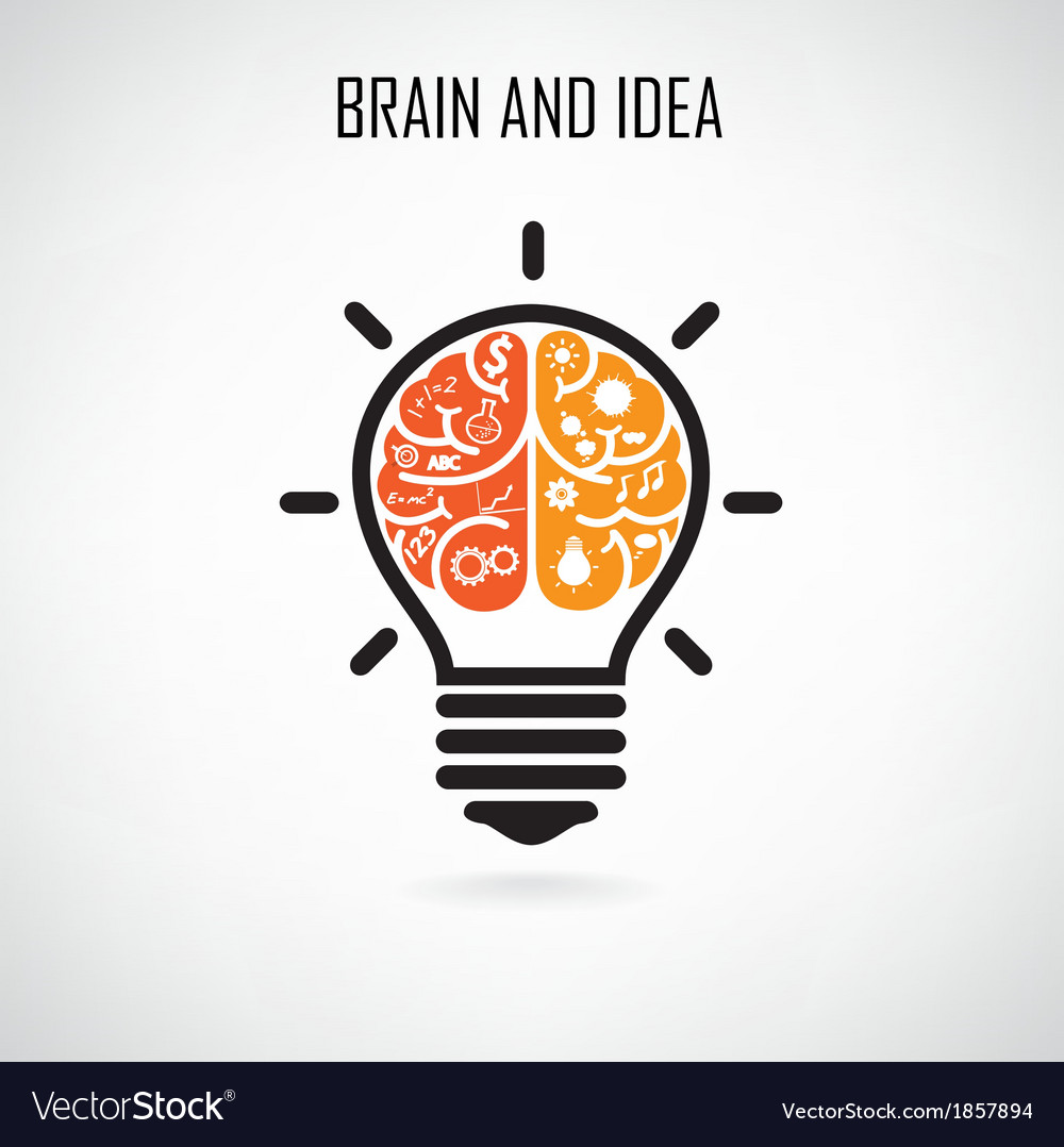 Creative light bulb and brain symbol vector