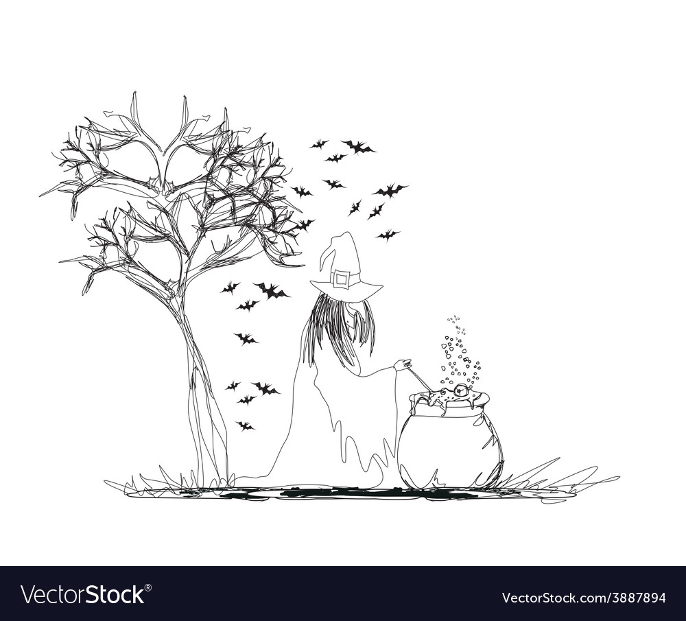 Witch stirring a potion in cauldron vector
