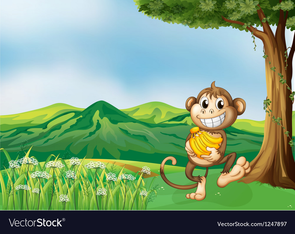 A monkey holding a banana vector