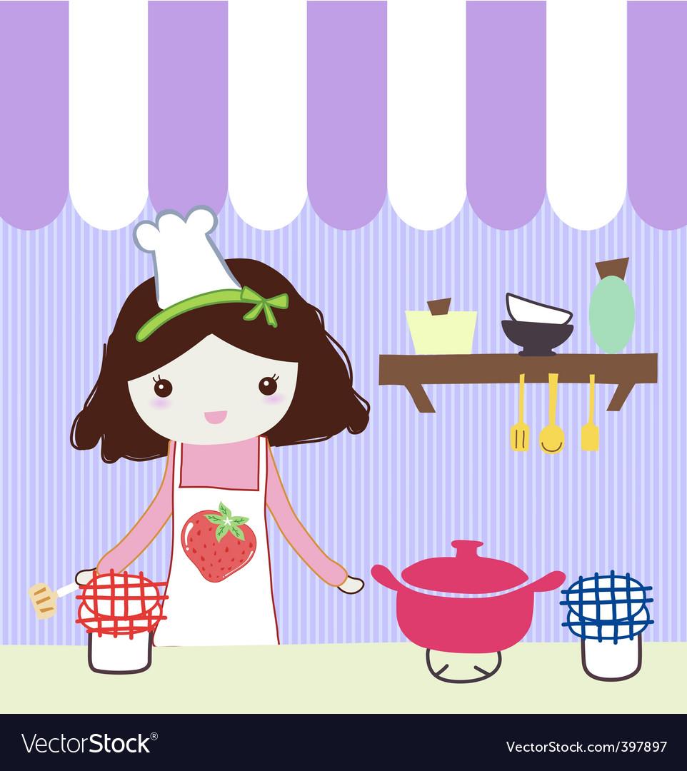 Girl in kitchen vector