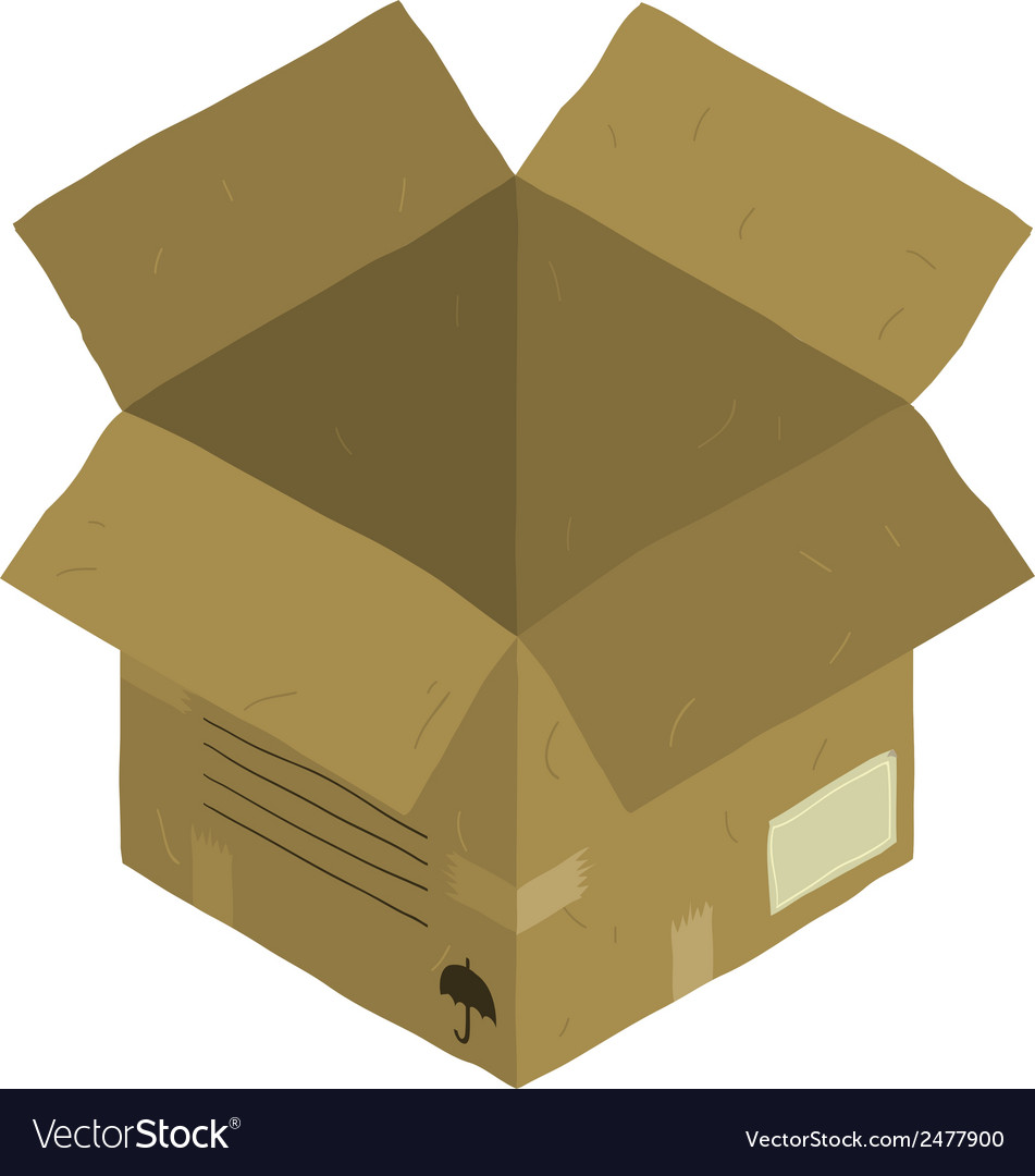 Open isometric carton package box vector