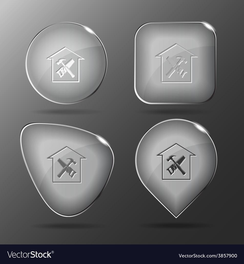 Workshop glass buttons vector