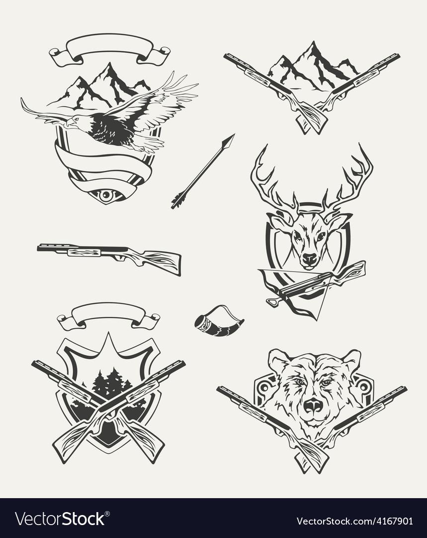 Set of hunt emblems badges labels and designed vector