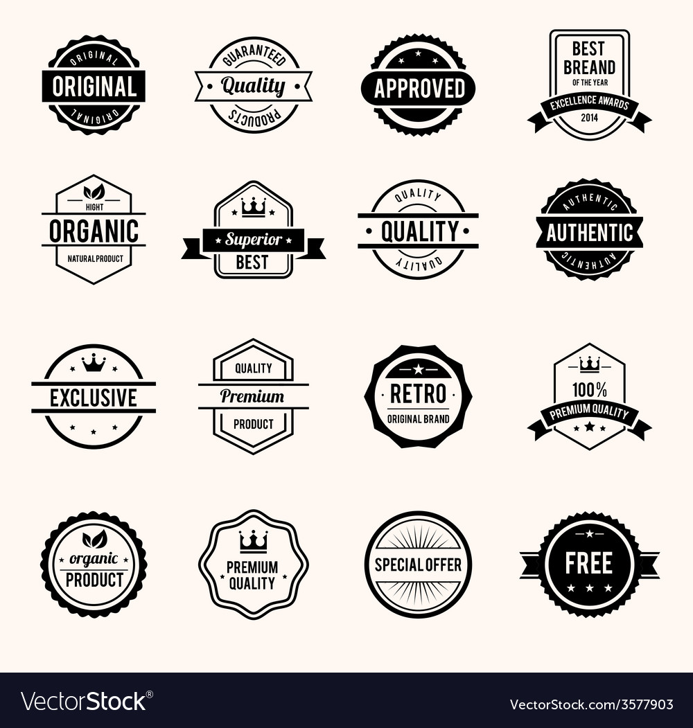 Black and white retro badges vector