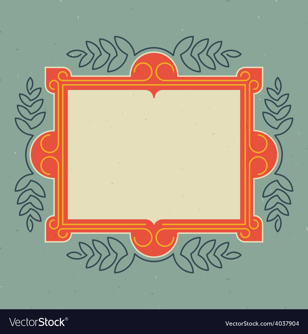 Vintage design template retro card with frame and vector