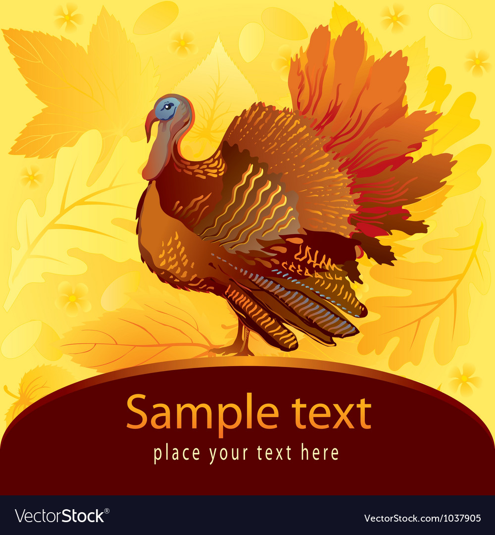 Decorative card with turkey vector
