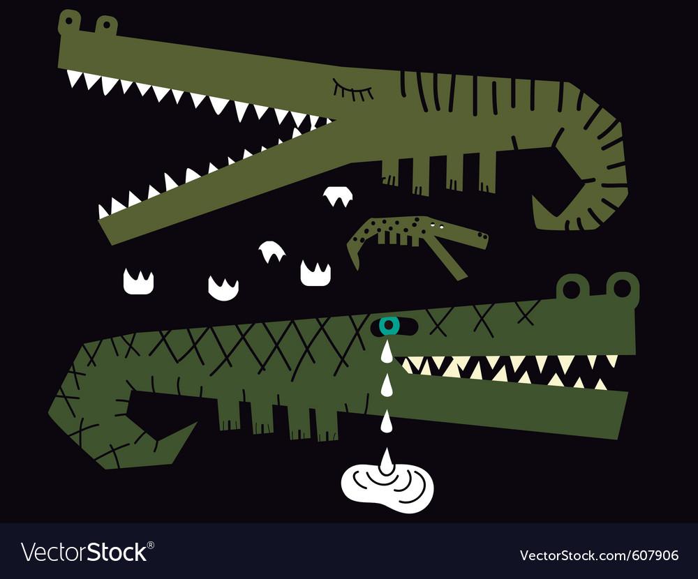 Crocodiles family vector