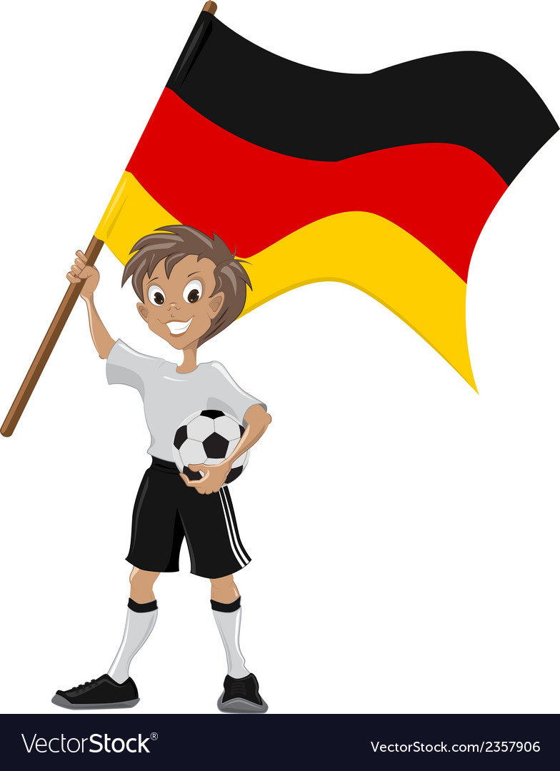 Happy soccer fan holds germany flag vector