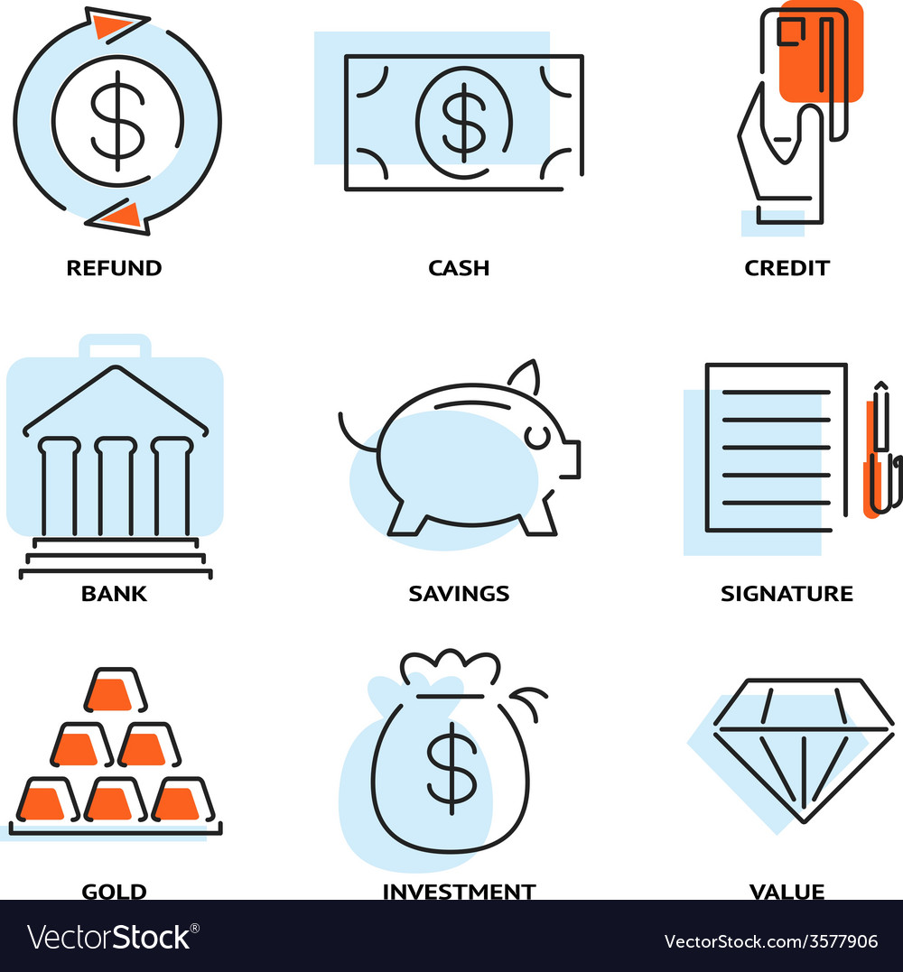 Set of money and value flat line icons vector