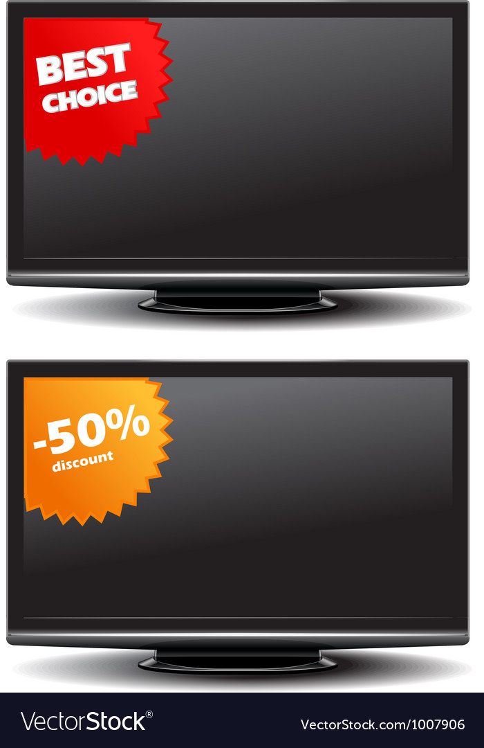 Widescreen tv with discount stickers vector