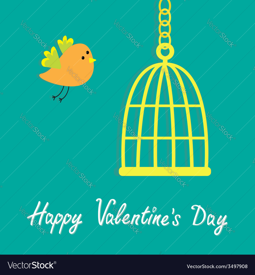 Golden birdcage cell flat design style happy vector