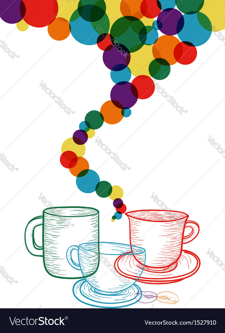 Colorful coffee set concept vector