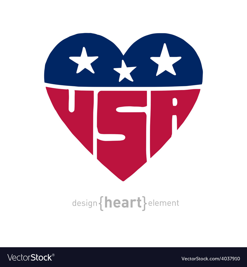 Heart with american flag colors symbols and vector