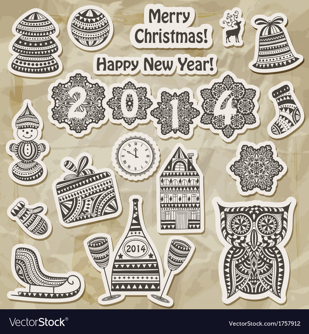 Christmas stickers design elements vector