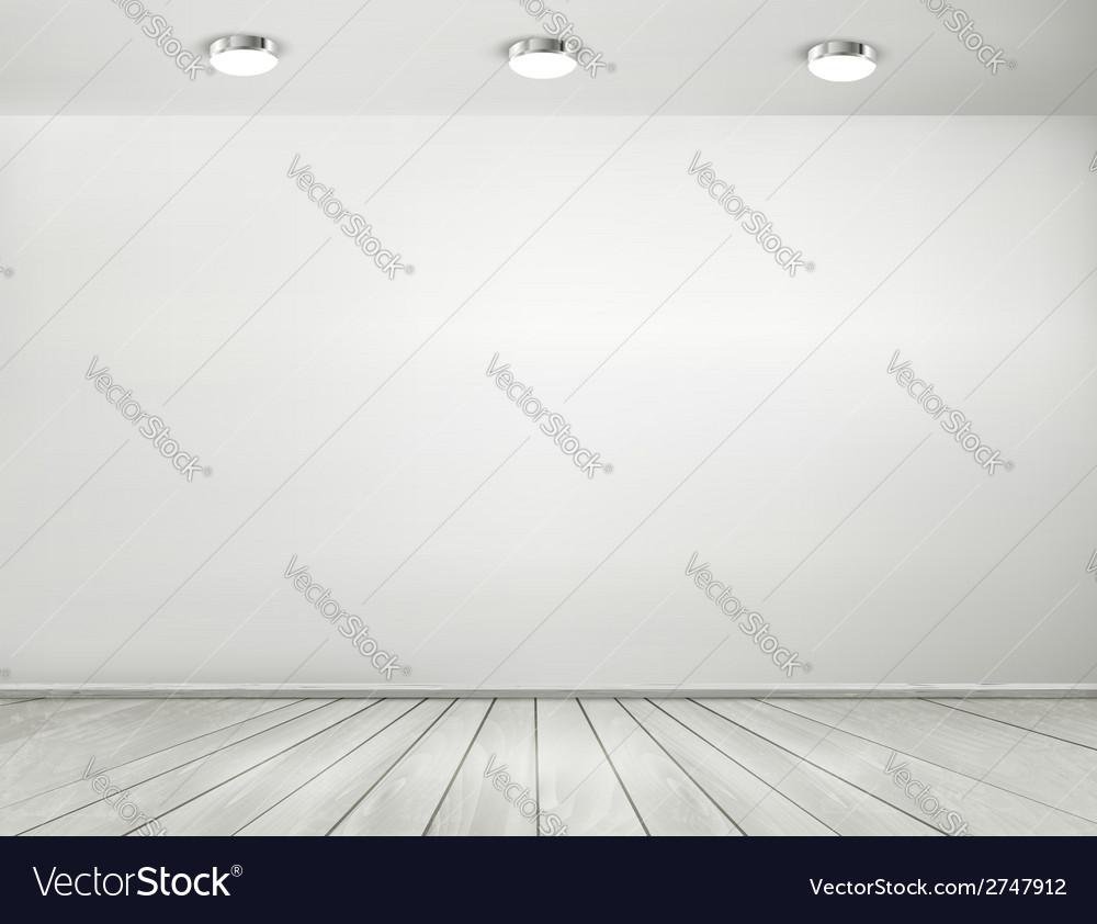 Grey room spotlights and wooden floor showroom vector