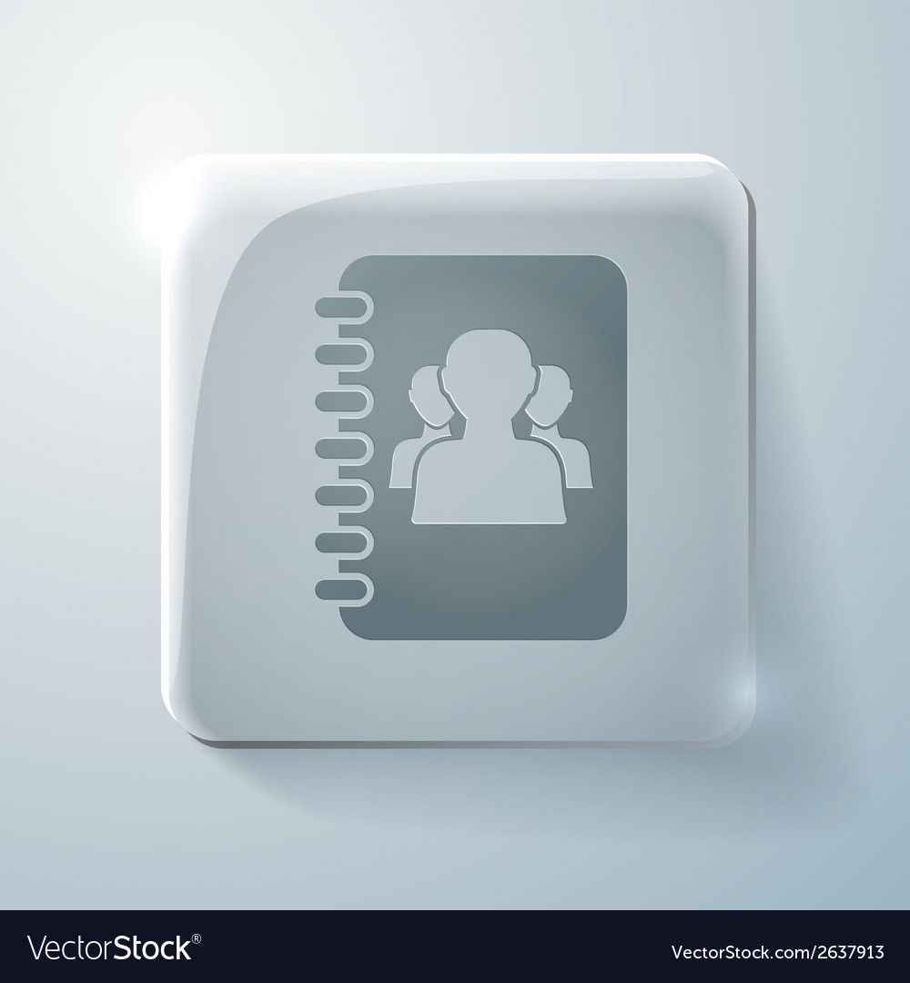 Glass square icon phone address book vector