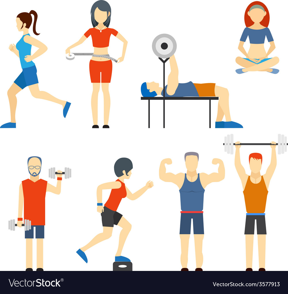 Set of people exercising at the gym vector
