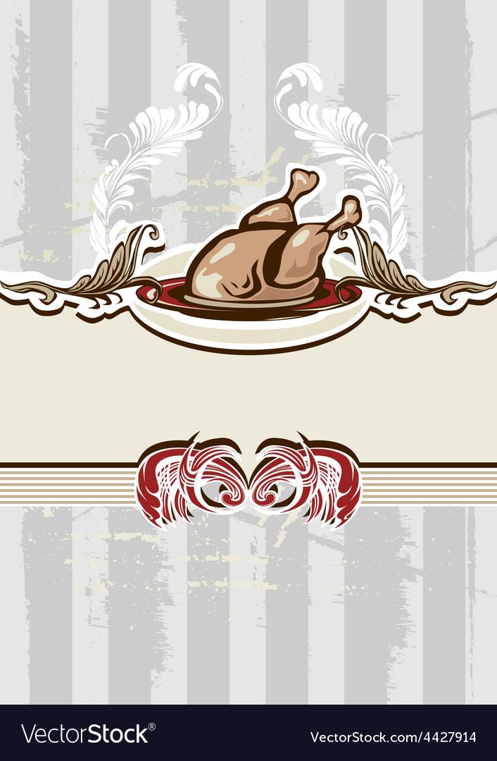 Chicken dish vector