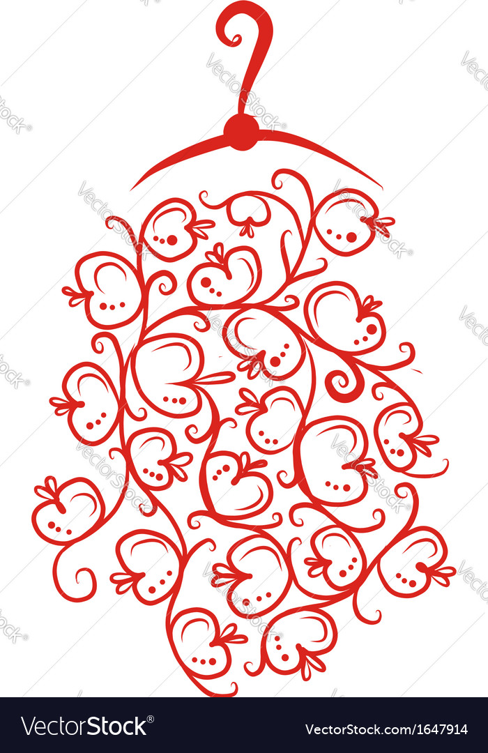 Dress with floral ornament on hanger sketch for vector