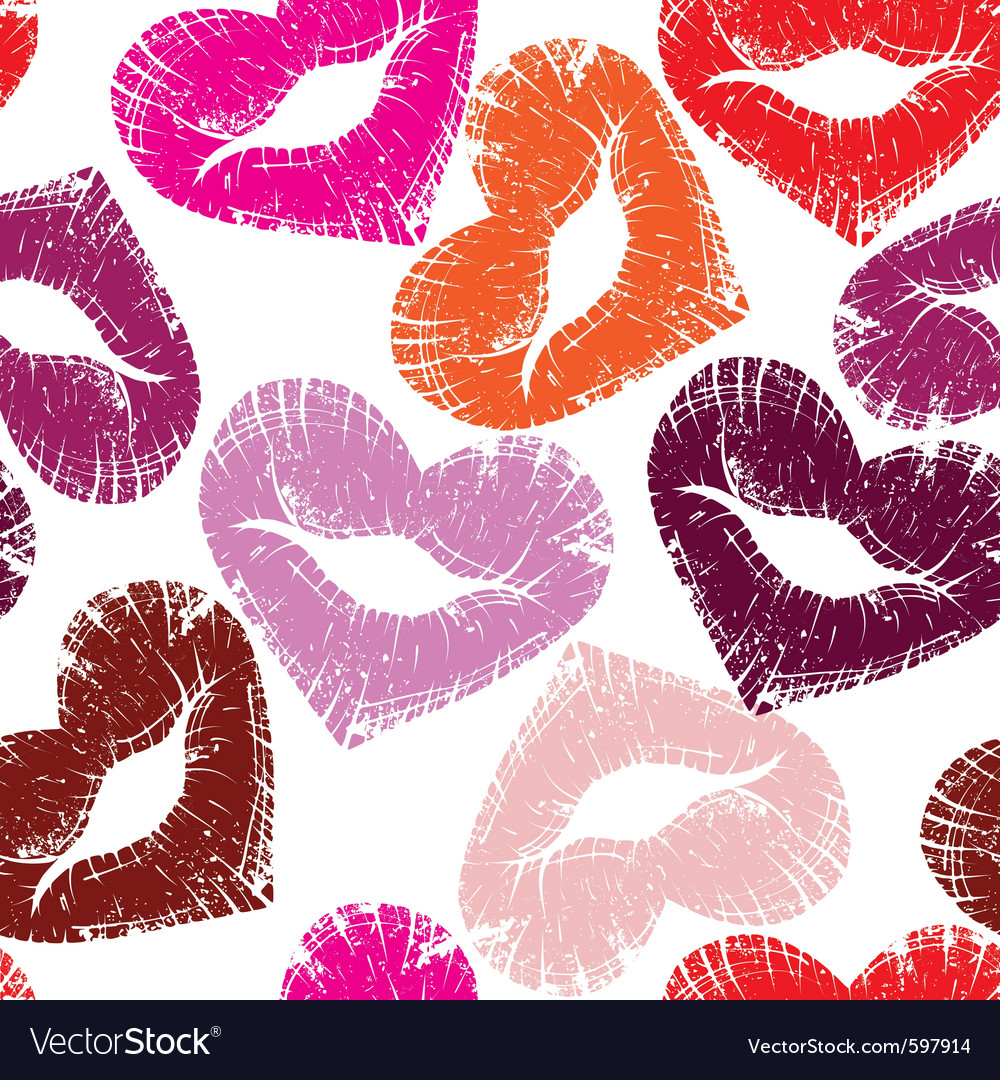 Seamless kisses vector