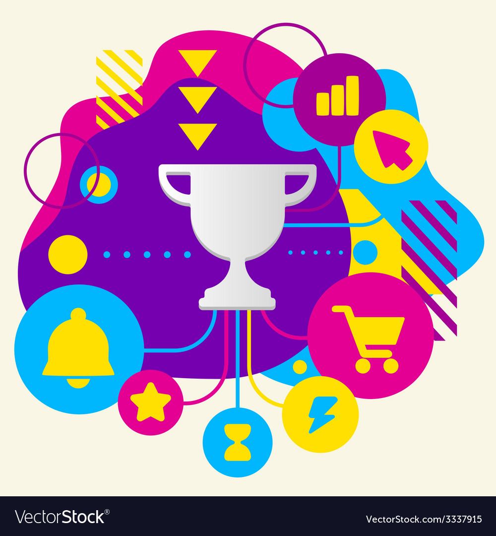 Cup winner on abstract colorful spotted background vector