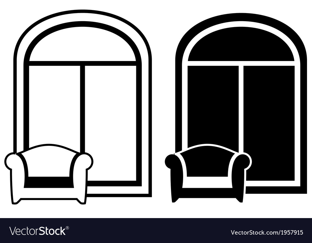 Set of armchair and window silhouette vector