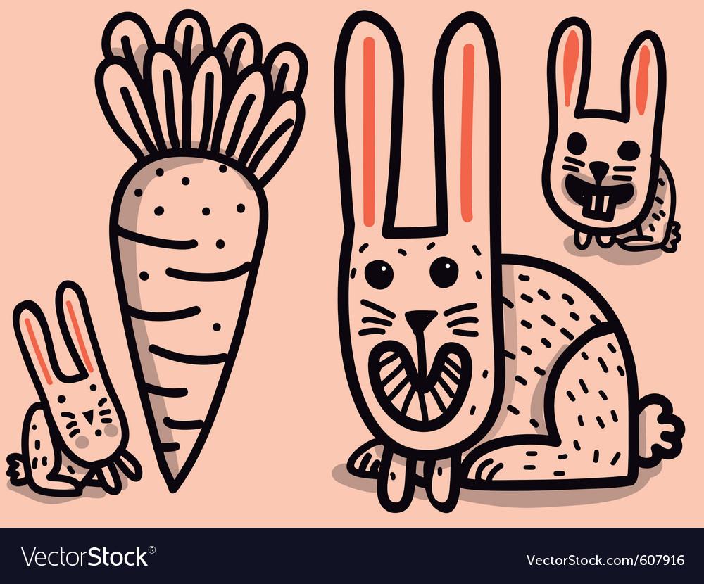 Rabbits and big carrot vector