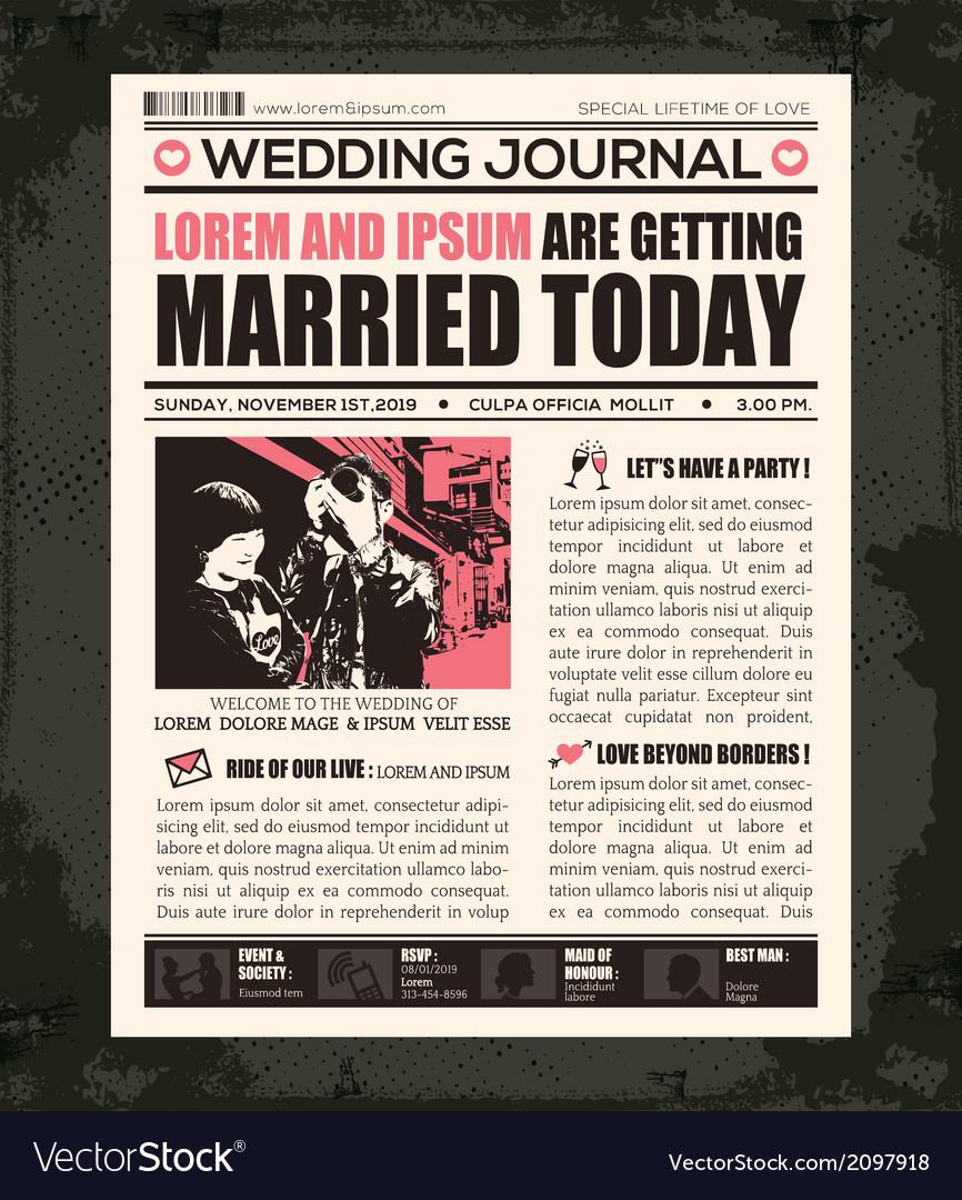Newspaper style wedding invitation design template vector