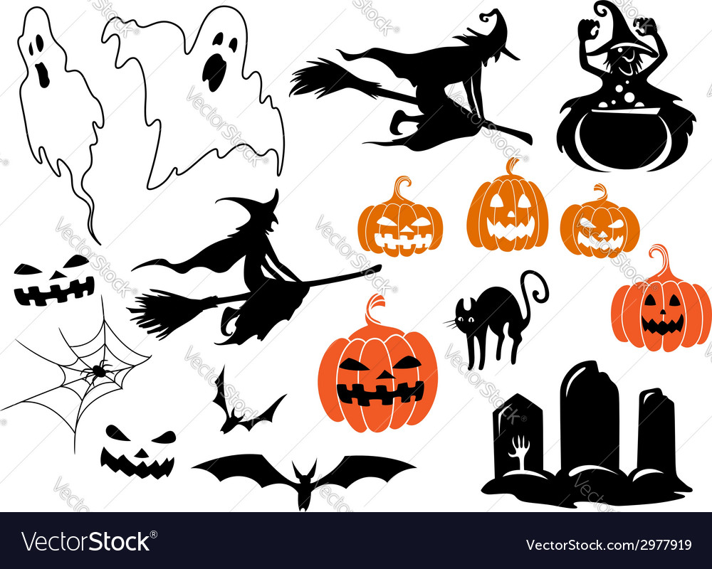 Halloween themed design elements and characters vector