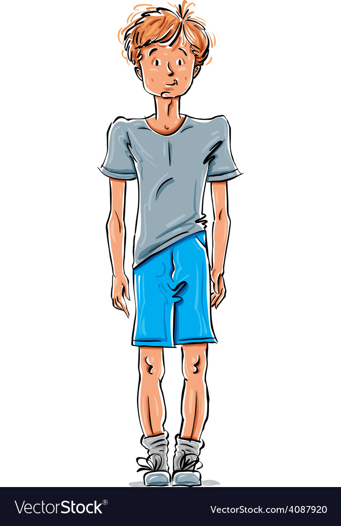 Drawing of a red-haired caucasian boy cartoon vector