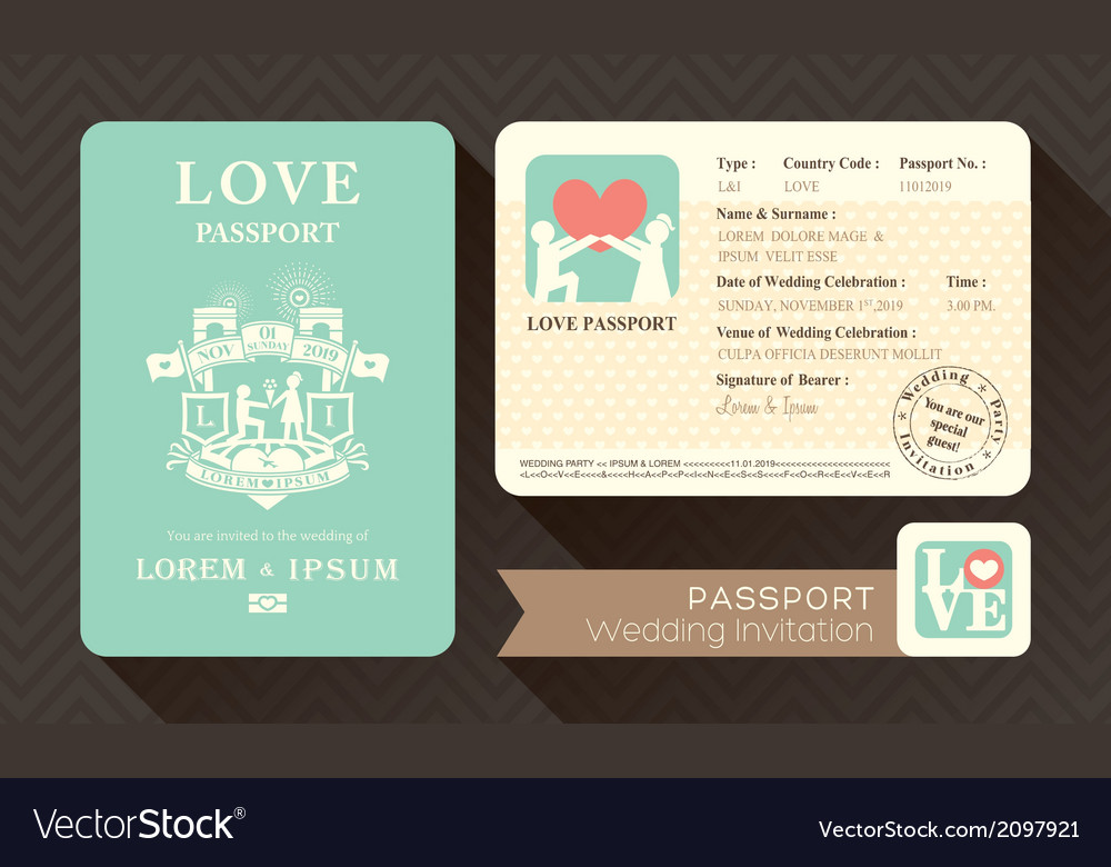 Passport wedding invitation card design template vector