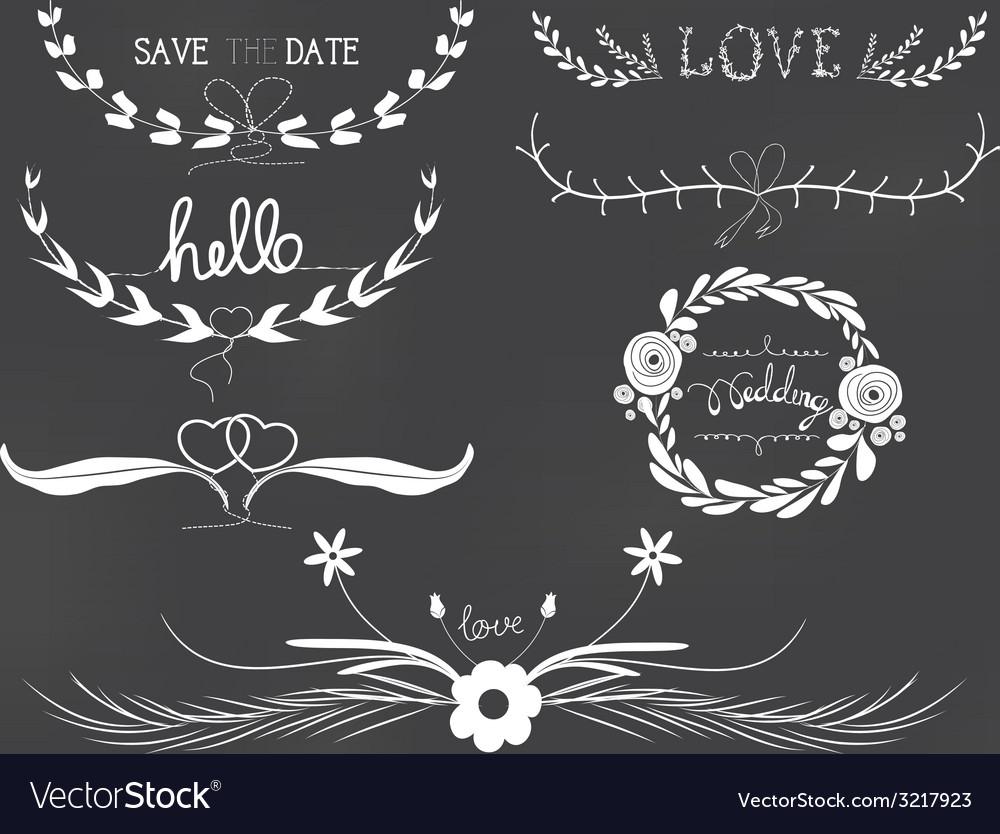 Chalkboard wedding florals vintage set vector