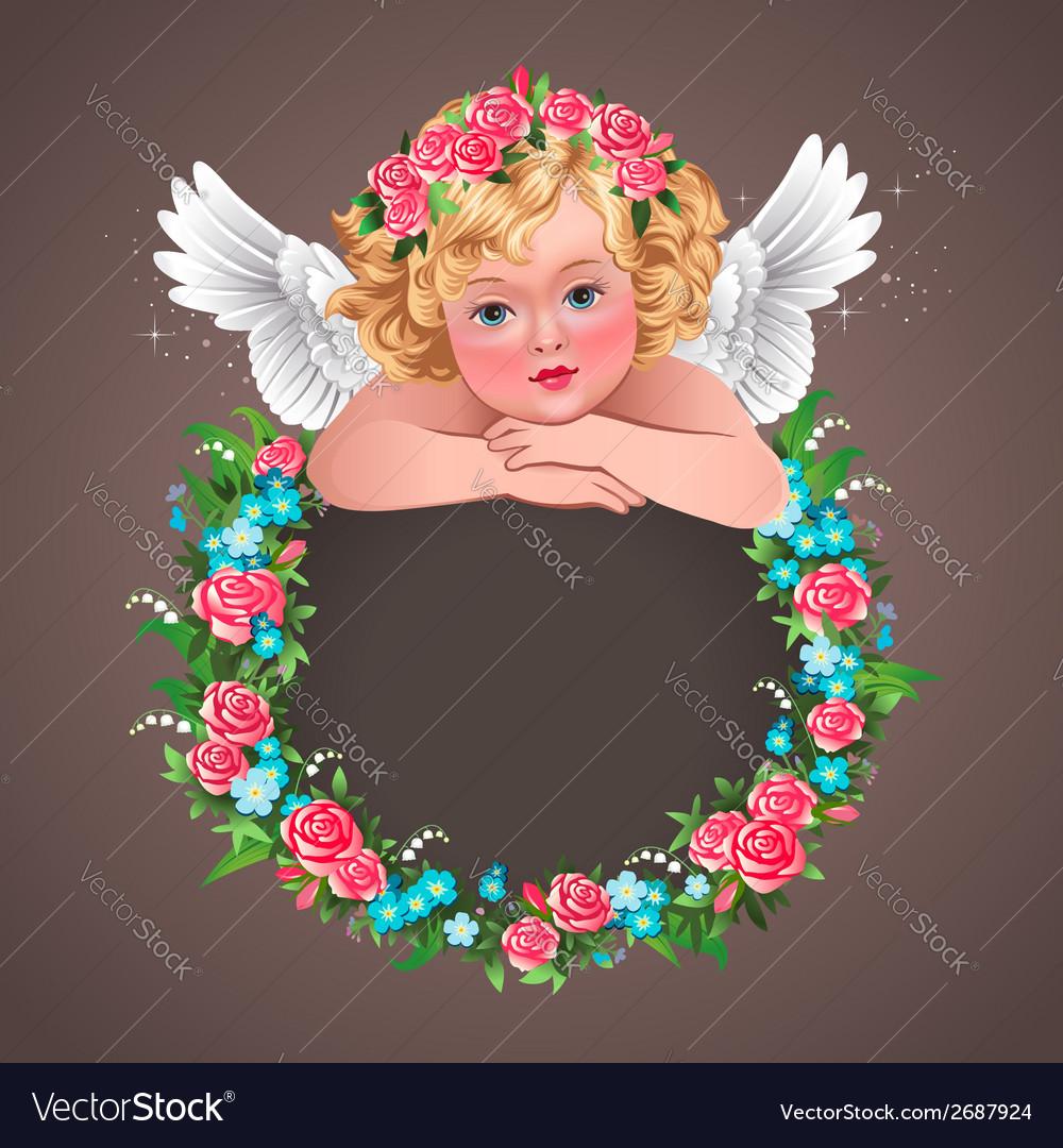 Retro angel flowers vector